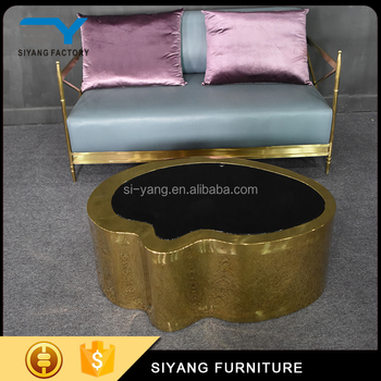 Living room low height coffee table industrial hammered metal coffee table for hotel CJ026