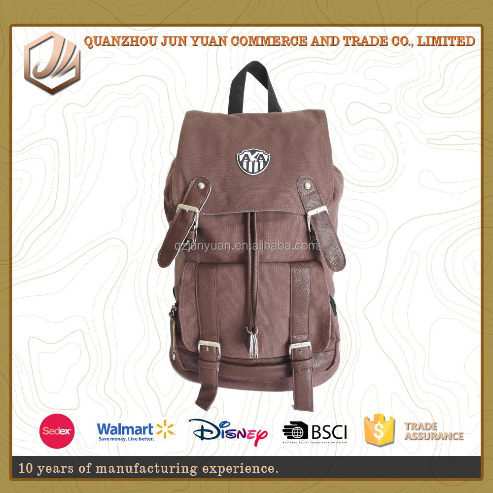 china products online high quality crazy horse leather canvas korean fashion backpack for men