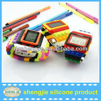 Colorful building block rainbow cheap silicone sports watches silicone LED digital watches