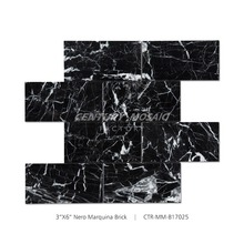 "2017 New Arrival 3''*6"" Black Marble Brick Mosiac Tile"