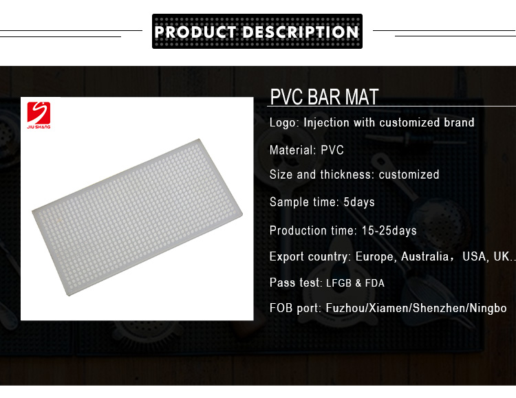 Factory bottom price blank PVC drinking bar spill mat