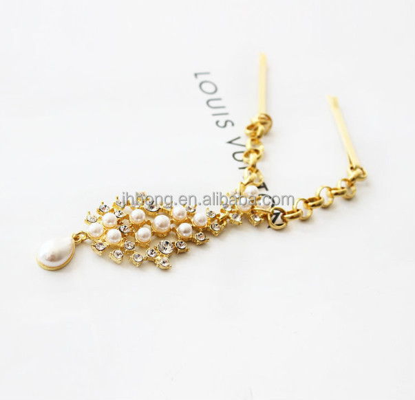 Wholesale New Fashion plated Gold Head Chain Bohemian Women Metal Pearl Head Chain Jewelry