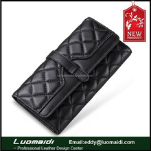 Good quality sheepskin leather ladies purse,lingge pattern lady genuine leather wallet