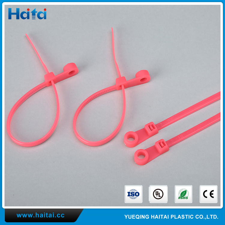 Haitai Brand Low Price Security Plastic Plastic Mountable Head Cable Ties