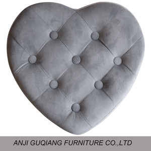 Wooden Heart-shaped Footstool Ottoman, Shoe Fitting Stool