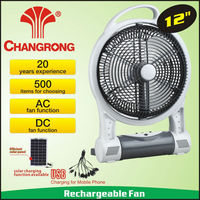 "12"" AC DC rechargeable solar battery operated fan with 8pcs led light"