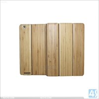 Real Wooden Material Three Folding Bamboo + PU Leather Case for iPad 2/3/4