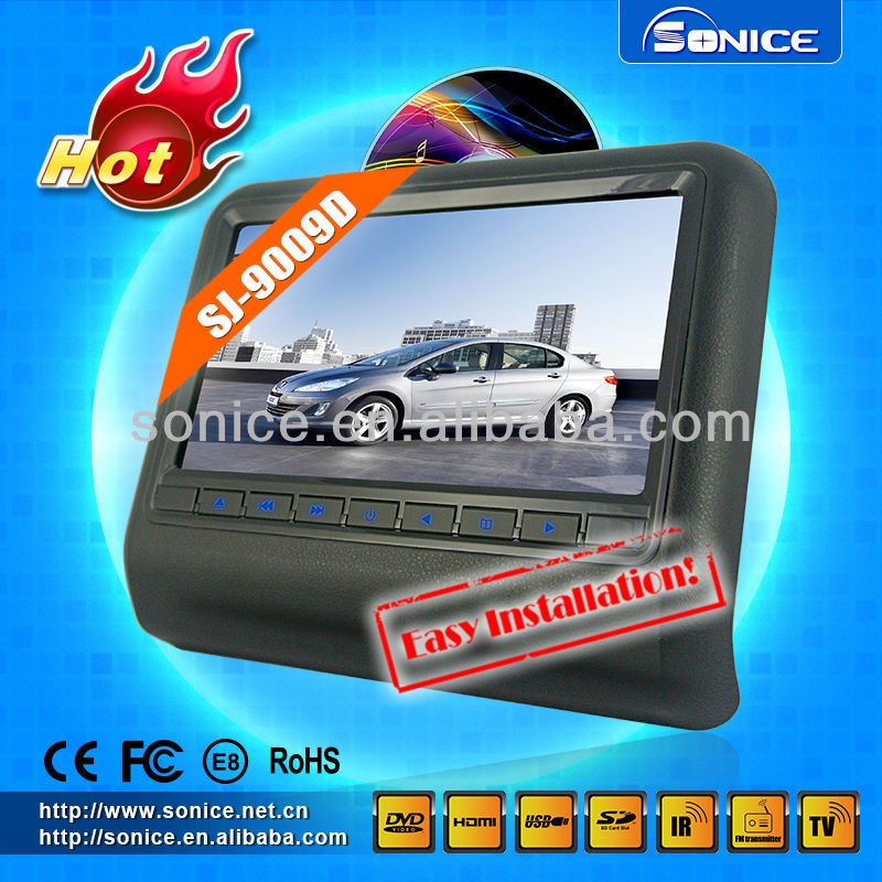 Easy installation! 9'' touch screen headrest dvd with digital panel