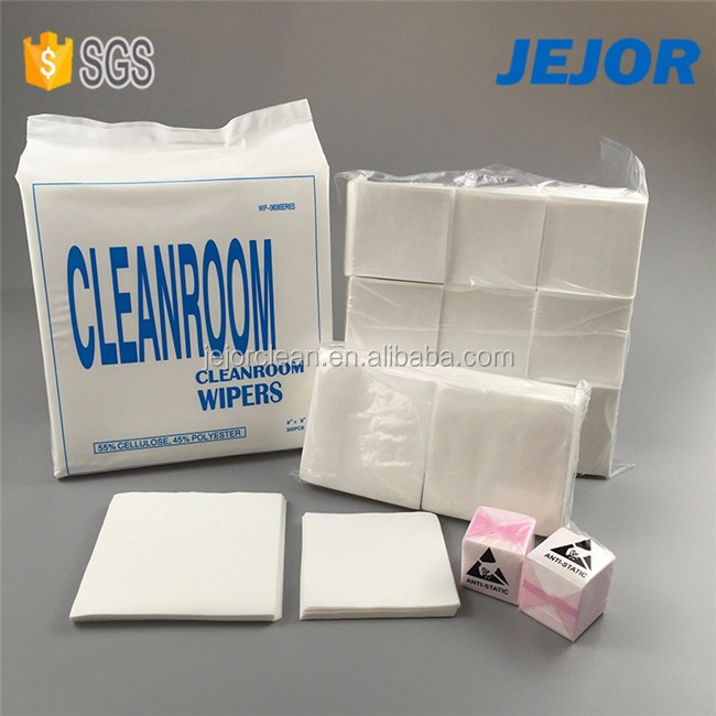 "9""x9"" 56gsm Cellulose and Polyester Dust Free Nonwoven Cleanroom Wipes"