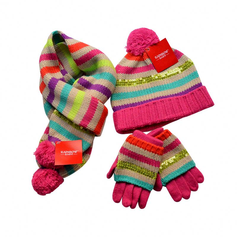 Winter hat scarf gloves three sets children knitting fashion set wholesales
