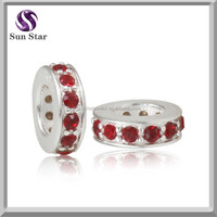925 sterling silver red sparkle light european beads charms