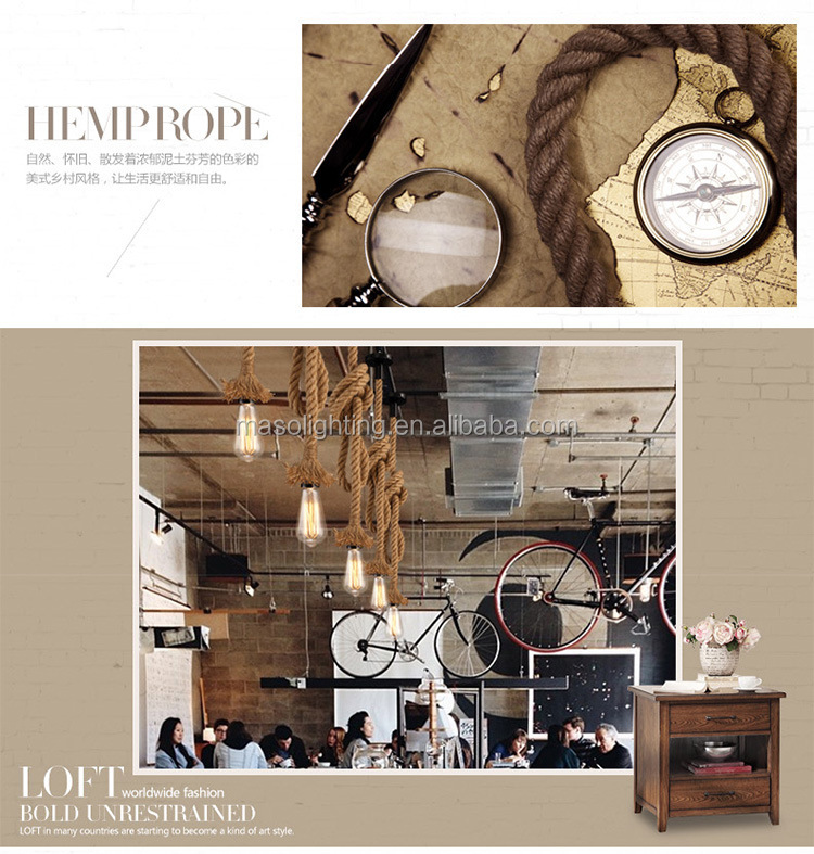 American Country Farmhouse Hemp rope Pendant Lamp Bar Counter Coffee Shop Retro Edison Drop Light Fixture Christmas Decoration