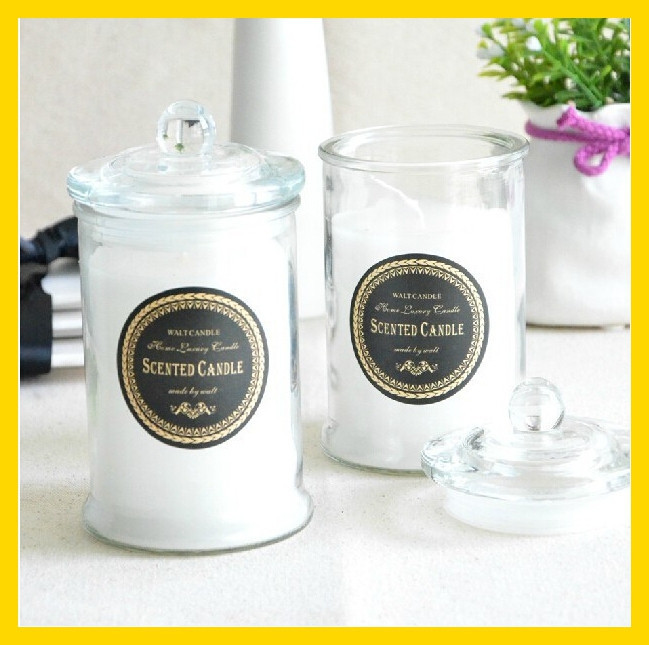 Press ivory colour glass metro jar and candle jar with knob lid