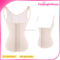 Nude Sexy Latex Rubber Waist Training Corset Vest for Women