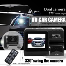 2016 New Dual Lens Car Camera Car DVR Dual Camera HD 1080P Dash Cam Black Box With Rear 2 Cam Vehicle View Car Recorder