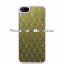 FL2374 2013 Guangzhou hot selling brushed metal grid pattern case with bling crystal diamond for iphone 5 5G