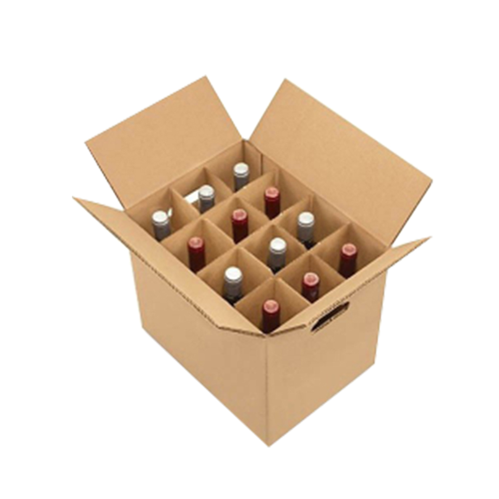 Factory Custom Recyclable Corrugated Paper <strong>12</strong> Bottle Cardboard Wine Box With Dividers