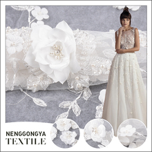 Net tulle embroidery white lace fabric for wedding dress with beaded