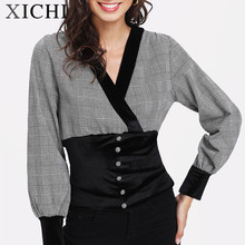 Korean fashion slim fit body building plaid blouse women