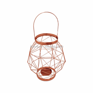 Crafts Metal Wire Copper Finish with Handle Lantern Candle Holder