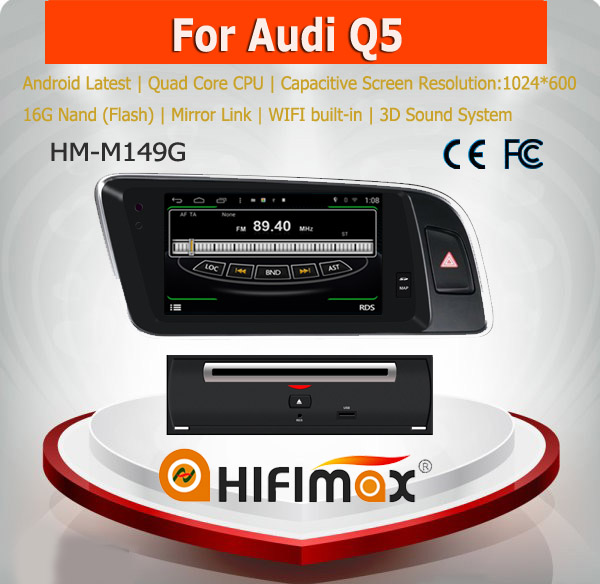 HIFIMAX Android 4.4.4car dvd gps navigation system for Audi Q5 WITH Capacitive screen 1080P 8G ROM WIFI 3G INTERNET