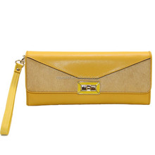 popular yellow clutch bag made of real leather
