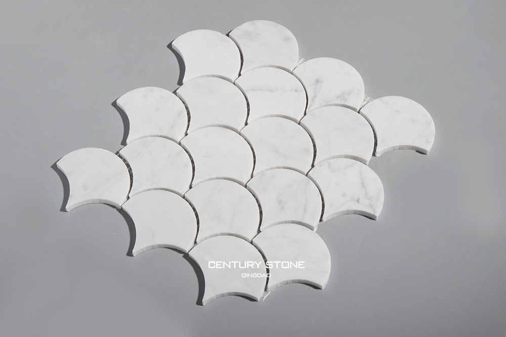 Hot selling Polished Bianco Carrara Fan Shaped Mosaic With Mesh Mounted