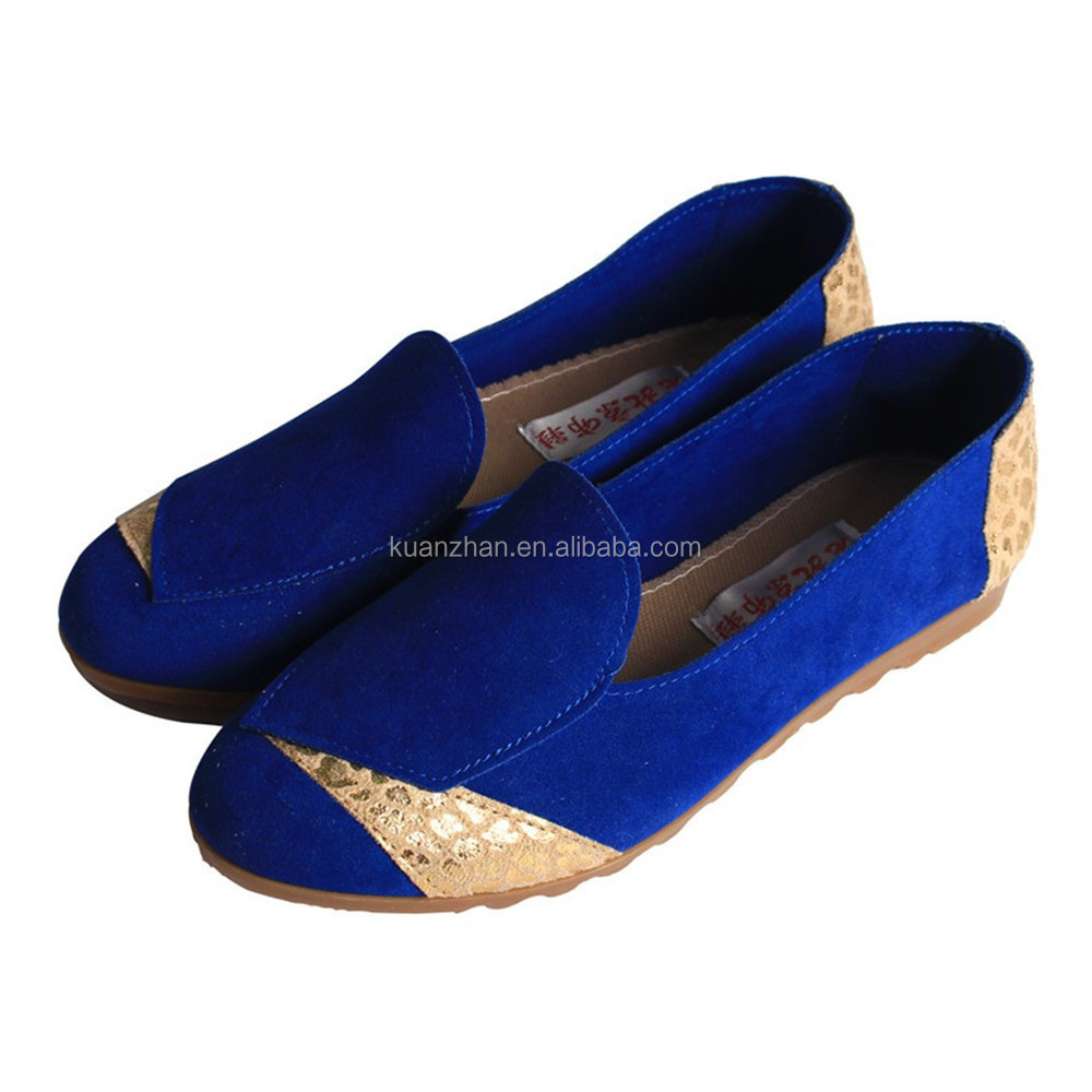 2015 high quality comfort fashion ladies blue suede shoes