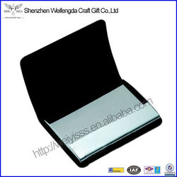 PU leather&stainless steel business card holder metal