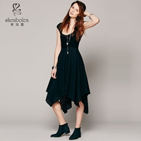 2015 New fashion black cap sleeve u neckline down knee with a open hole formal dress patterns China supplier OEM