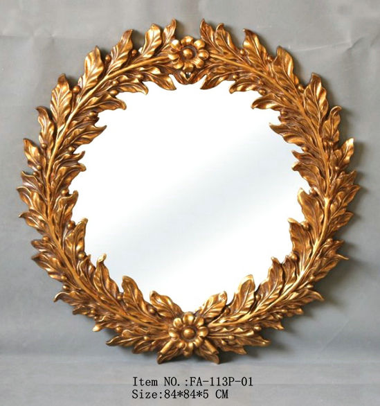 FA-113P-01 gold floral home&hotel decoration wall mirror