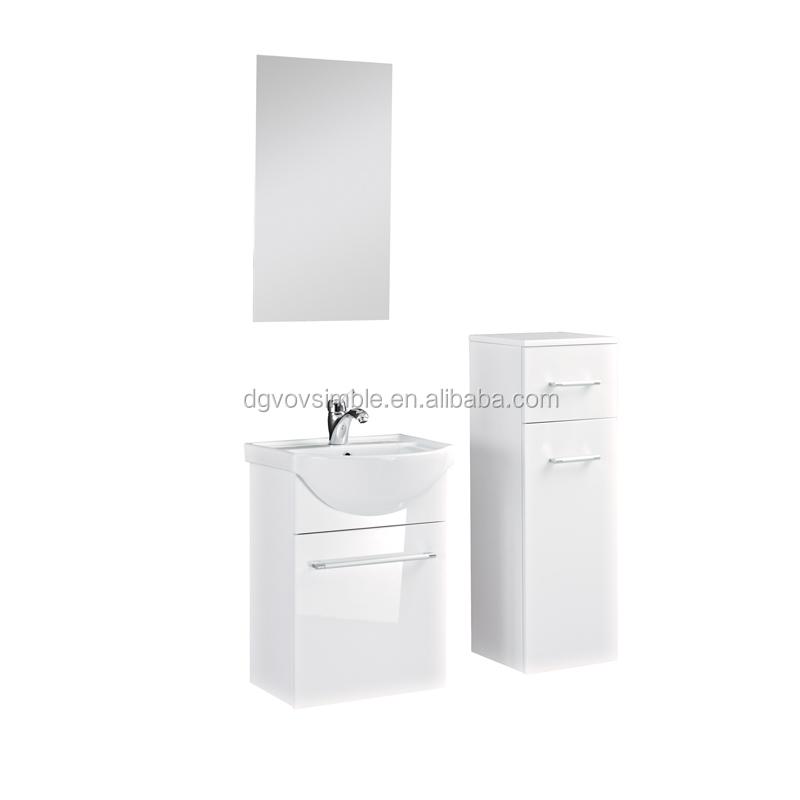 Slim white wall hung wash basin bathroom wall corner for Slim white bathroom cabinet