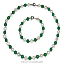8mm Malaysia Jade & Pearls Necklace & 8 inches Bracelet Set