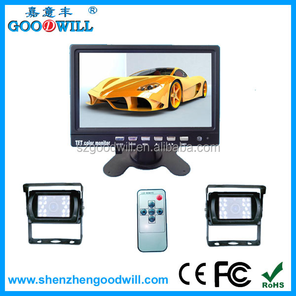 7 inches Car Rearview Monitor 2 Video Input with 2 Waterproof Night Vision CCD 600 TVL Cameras