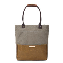 Designer Canvas Tote Bag Handcrafted Canvas Leather Shopper Bag Handbag 14051