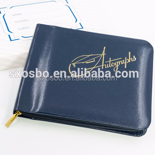 factory customized leather cover Autograph <strong>Book</strong> with Golden Stamping for school