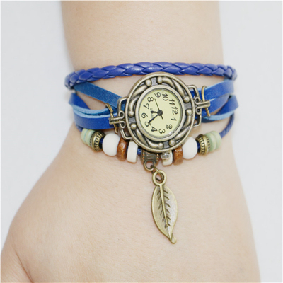 7 Color Fashion New Lady Women Womens Retro Leather Bracelet Tree leaf Decoration Quartz Wrist Watch Wristwatches