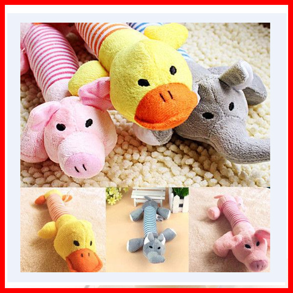 Factory Customize Plush Sound Chew Squeaker Squeaky Dog Pig Elephant Duck Toys