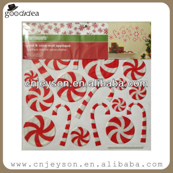 3D glitter Xmas holiday puffy sticker for wall decoration PF062