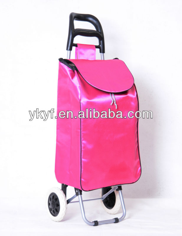 Folding Waterproof Printing Supermarket Shopping Trolley Bag with wheels