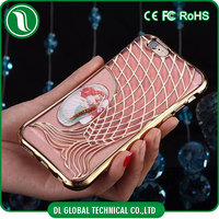 Popular 2016 TPU electroplated mermaid phone cover for apple mobile phone with glitter powder bling case cover for samsung