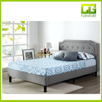 Upholstered Scalloped Button Tufted Platform Bed