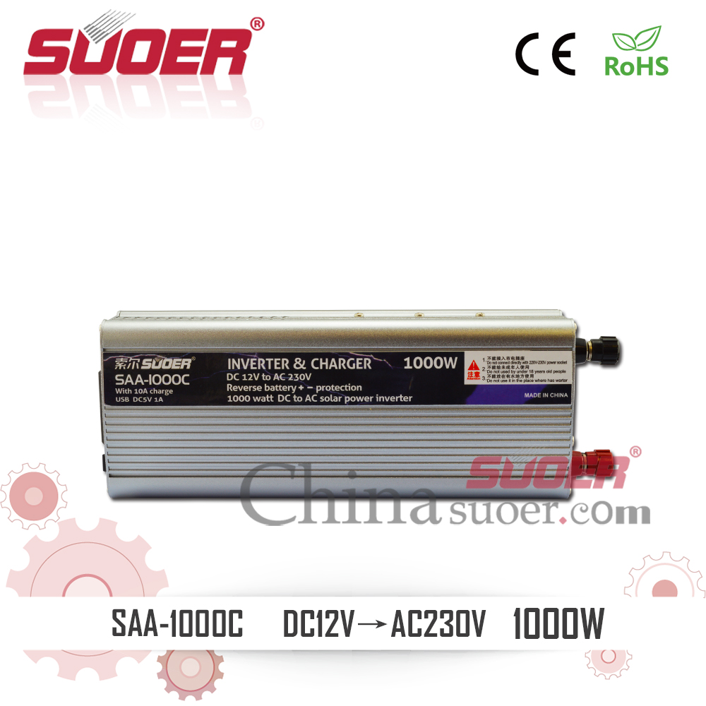 Suoer Two In One 1000W DC TO AC Charger Inverter 12V Inverter with 10A Charger