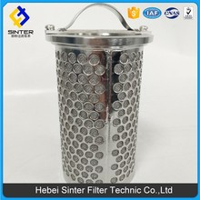 ss stainless steel sintered wire mesh cylinder basket strainer filter
