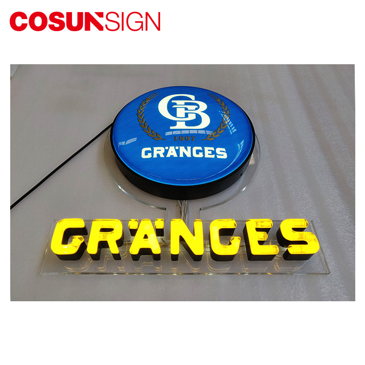 Steel 3D Event Outdoor Display Retail Shop Neon Led Light Round Signage Products
