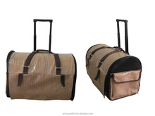 Large brown pu dog travelly bag