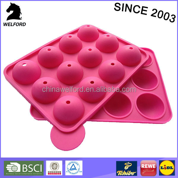 high quality Non stick 12 mould cake pops silicone baking tray