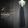 2016 Wholesale New Model Fashion Best Long Black Crystal Beaded Evening Dress