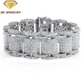 white gold plated silver zircon diamond screw bracelet