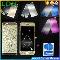 3D Diamond Colorful Screen Protector Case Film OR Front+Back Tempered Glass Mirror Effect Color for Iphone 4 4S 5 5S 6 6S Plus